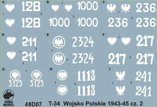 Kalkomania Czołgi T-34 w Wojsku Polskim 1943-45 cz.2, polska kalkomania do modeli w skali 1/48.