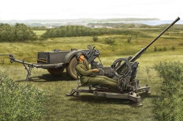 Niemieckie holowane działo przeciwlotnicze FlaK 38 (późna wersja) kalibru 20mm wraz z przyczepą Sd.Ah 51, plastikowy model do sklejania Hobby Boss 80148 w skali 1:35