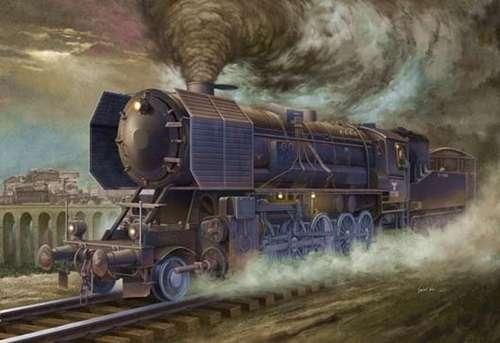 Niemiecka lokomotywa Kriegslokomotive BR52, plastikowy model do sklejania Trumpeter 00210 w skali 1:35.-image_Trumpeter_00210_1