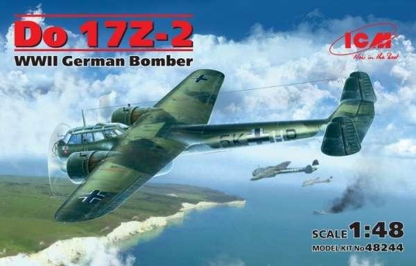 Niemiecki bombowiec Dornier Do 17Z-2, plastikowy model do sklejania ICM 48244 w skali 1:48