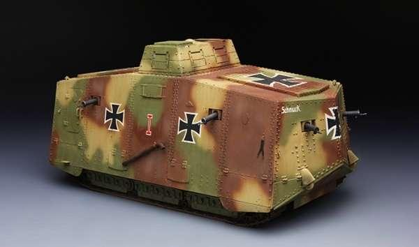 Niemiecki czołg A7V (Krupp) z okresu I wojny światowej, plastikowy model do sklejania Meng TS-017 w skali 1:35.
