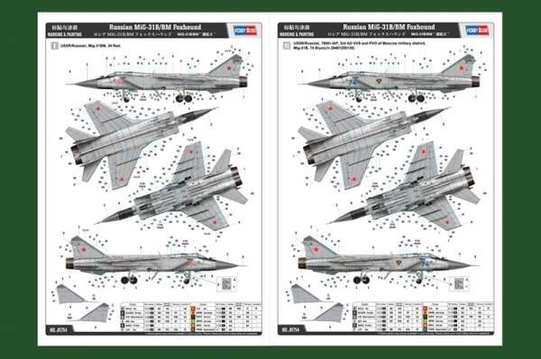 Instrukcja malowania modelu samolotu MiG-31B/BM Foxhound Hobby Boss 81754
