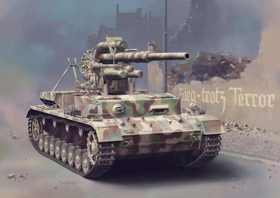 Model niemieckiego działa Flak 36 8,8cm na podwoziu czołgu Panzerkampfwagen IV Ausf.H, plastikowy model do sklejania Dragon 6829 w skali 1/35.