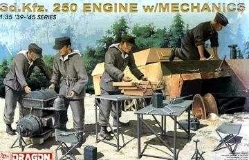 Silnik Sd.Kfz.250 oraz mechanicy, stoły warsztatowe i narzędzia, plastikowy model do sklejania Dragon nr 6112 w skali 1:35